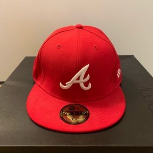 Atlanta Braves New Era Red 59FIFTY fitted hat